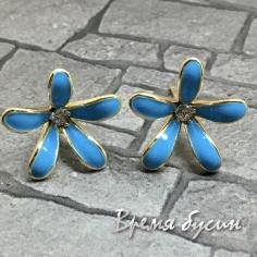 Швензы-гвоздики с эмалью цв. бирюзовый, латунь с позолотой  (1 пара)