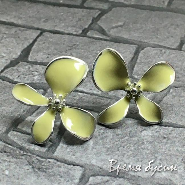 Швензы-гвоздики с эмалью цв. лимонный, латунь с родиевым покрытием (1 пара)