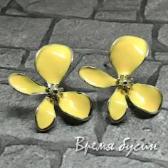 Швензы-гвоздики с эмалью цв. желтый, латунь с родиевым покрытием (1 пара)