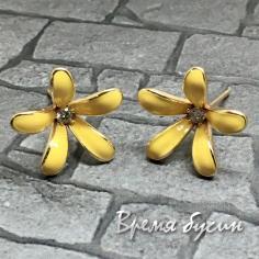 Швензы-гвоздики с эмалью цв. желтый, латунь с позолотой  (1 пара)