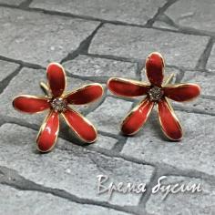Швензы-гвоздики с эмалью цв. красный, латунь с позолотой  (1 пара)