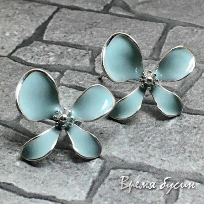 Швензы-гвоздики с эмалью цв. голубой, латунь с родиевым покрытием (1 пара)