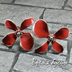 Швензы-гвоздики с эмалью цв. красный, латунь с родиевым покрытием (1 пара)