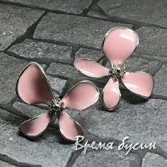 Швензы-гвоздики с эмалью цв. розовый, латунь с родиевым покрытием (1 пара)