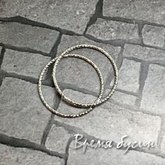 Кольца с насечкой, 20 мм, латунь с родиевым покрытием (2 шт.)