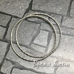 Кольца с насечкой, 30 мм, латунь с родиевым покрытием (2 шт.)