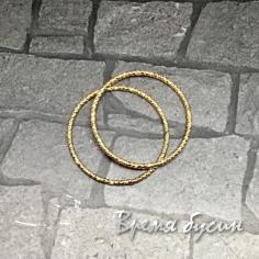 Кольца с насечкой, 20 мм, латунь с позолотой (2 шт.)