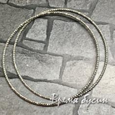 Кольца с насечкой, 40 мм, латунь с родиевым покрытием (2 шт.)