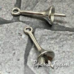 Штифт для вклейки, держатель кулона, 5х12 мм, латунь с родиевым покрытием (1 шт.)