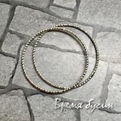 Кольца с насечкой, 25 мм, латунь с родиевым покрытием (2 шт.)