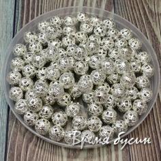 Бусины из филиграни, 6 мм, цвет серебро (5 гр., ок. 35 шт.)
