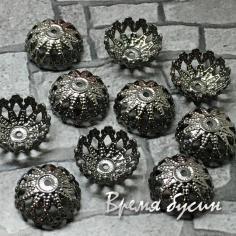 Шапочки для бусин 12 м, латунь с чёрным родиевым покрытием (10 шт.)