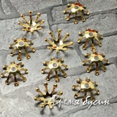 Шапочки для бусин 10 мм, латунь с позолотой (10 шт.)