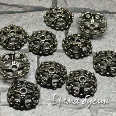 Шапочки для бусин 10 мм, латунь с чёрным родиевым покрытием (10 шт.)