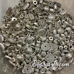 Разделители для бусин металлические, микс цв. серебро (10 гр.)