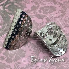 Основа для кольца с изогнутой площадкой 35 мм с отверстиями, цв. никель (1 шт.)