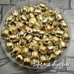Колпачок-концевик для шнура акриловый, цв. золото 7х11 мм (1 шт.)