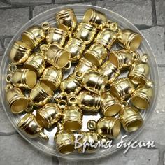 Колпачок-концевик для шнура акриловый, цв. золото 8х13 мм (1 шт.)