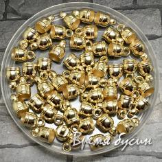Колпачок-концевик для шнура акриловый, цв. золото 6х9 мм (1 шт.)