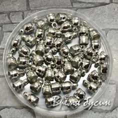 Колпачок-концевик для шнура акриловый, цв. серебро  6х9 мм (1 шт.)