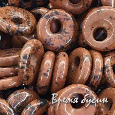 """Обсидиан. Кулон из камня """"Пончик"""", 18 мм (1 шт.)"""