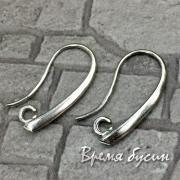 Швензы-крючки, латунь с родиевым покрытием (1 пара)