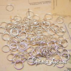 Колечки соединительные одинарные разъемные. от 4 до 7 мм. Цвет серебро (5 гр.)