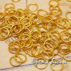 Колечки соединительные одинарные разъемные. от 4 до 7 мм. Цвет золото (5 гр.)