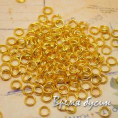 Колечки соединительные двойные. от 4 до 7 мм. Цвет золото (5 гр.)