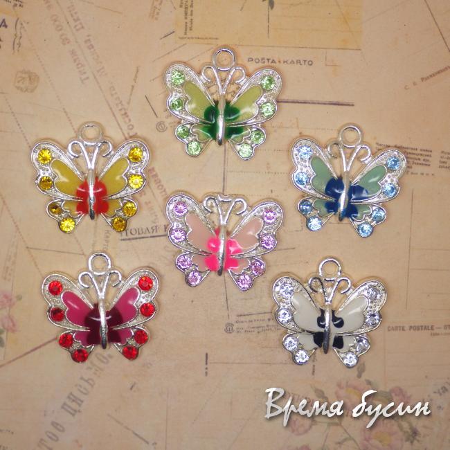 Подвеска бабочка с эмалью и стразами