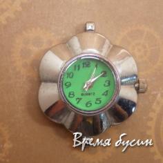 Основа для часов, цвет серебро, циферблат арабский, зеленый