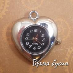 Основа-кулон для часов, цвет серебро, циферблат арабский, черный
