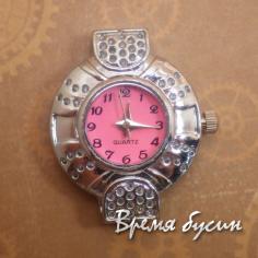 Основа для часов, цвет серебро, циферблат арабский, розовый