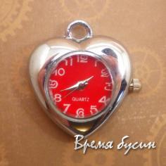 Основа-кулон для часов, цвет серебро, циферблат арабский, красный