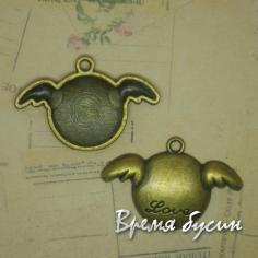 Крылышки. Подвеска металлическая, цв. бронза (1 шт.)