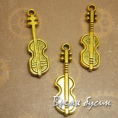 Гитара, подвеска металлическая, цв.золото (1 шт.)