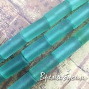 1/2 НИТИ БУСИН Аква-кварц матовый, трубочка гладкая 10х20 мм (10 шт.)
