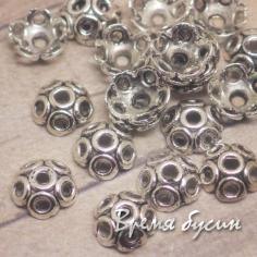 Шапочки для бусин 8 мм под серебро (5 гр.)