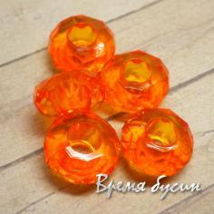Бусины в стиле пандора, акриловые, граненые, цвет оранжевый (1 шт.)