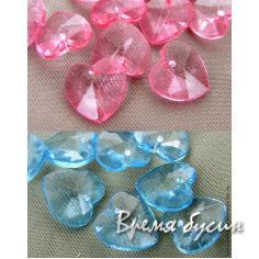 Сердечко акриловое розовое голубое
