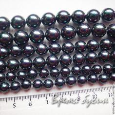 Жемчуг майорка, черный гладкий шарик 6-8-10 мм (1 шт.)