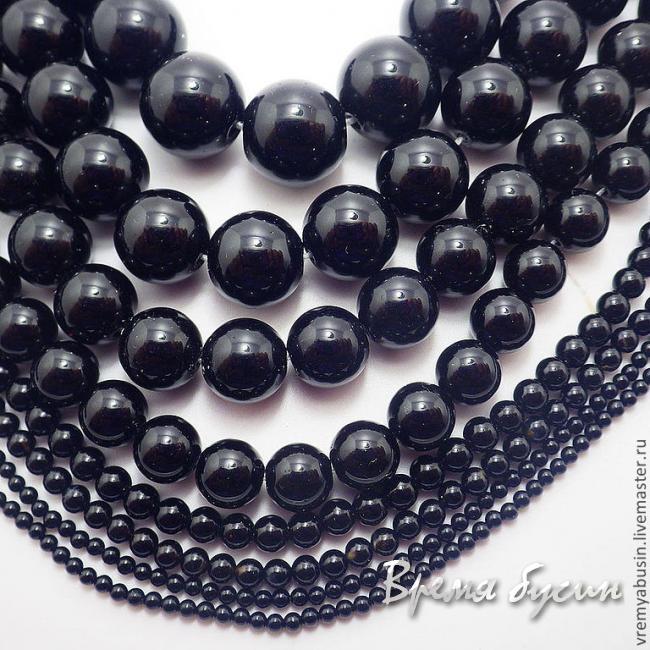Агат черный, шарик гладкий 2-3-4-6-8-10-12-14 мм (1 шт.)