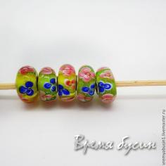 Бусины лэмпворк ручной работы в стиле пандора (1 шт.)