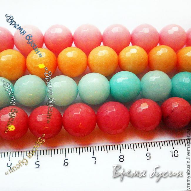 Агат тонированный, шарик граненый 12 мм