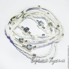 Основа для браслета в стиле пандора. Белая косичка с бусинкой. Размеры 15, 16, 17, 18, 19, 20, 21, 22, 23 см